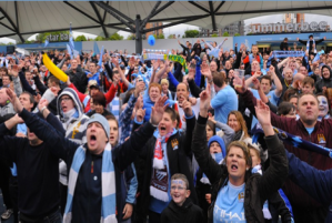 MCFC City Square fans outside the Summerbee bar